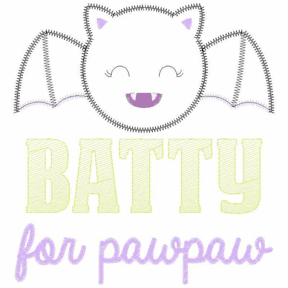 Batty for PawPaw Satin and Zigzag Applique
