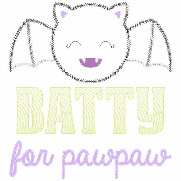 Batty for PawPaw Chain and Vintage Applique