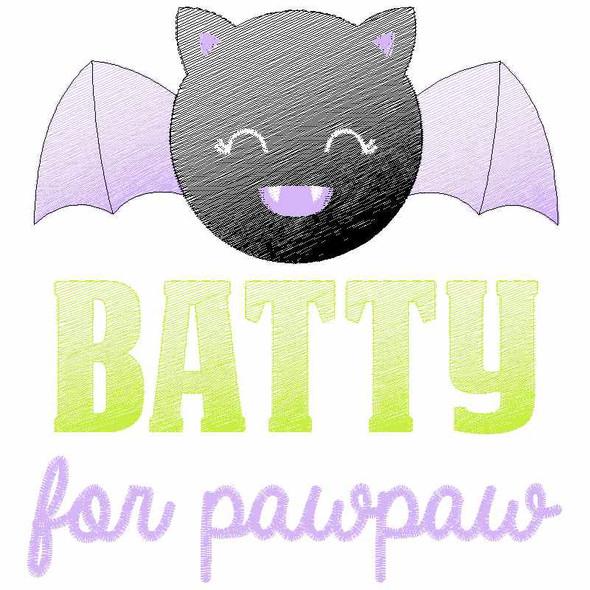 Batty for PawPaw Sketch Applique