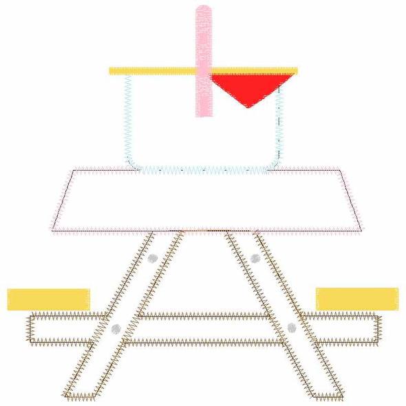 Cute Picnic Table Satin and Zigzag Applique