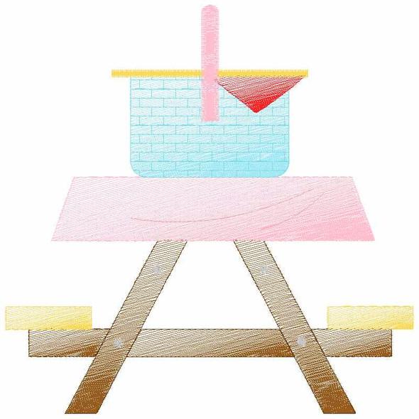 Cute Picnic Table Sketch Applique