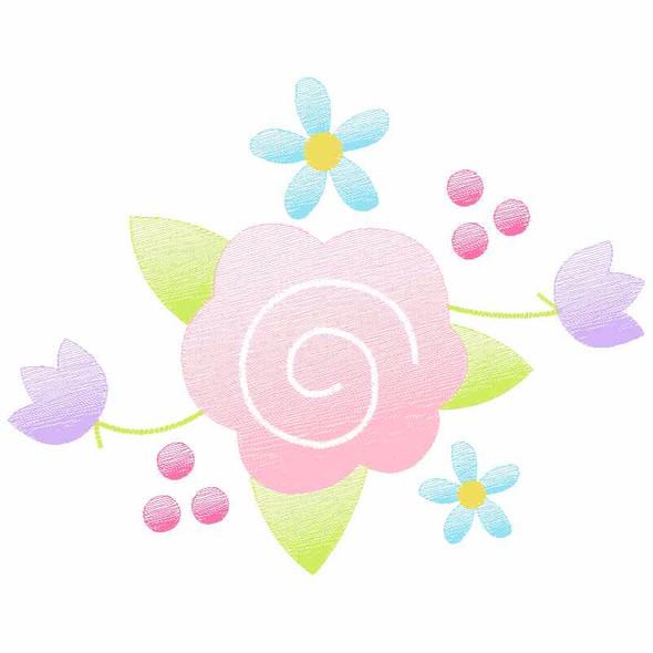 Floral Spray Sketch Applique