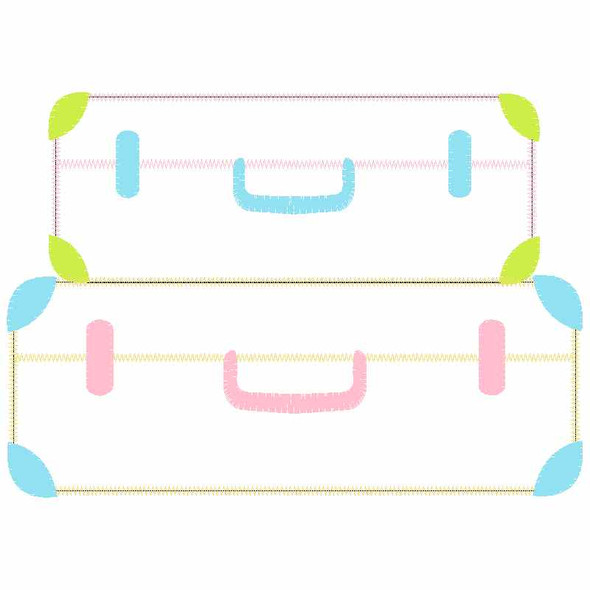 Stack Suitcases Satin and Zigzag Applique