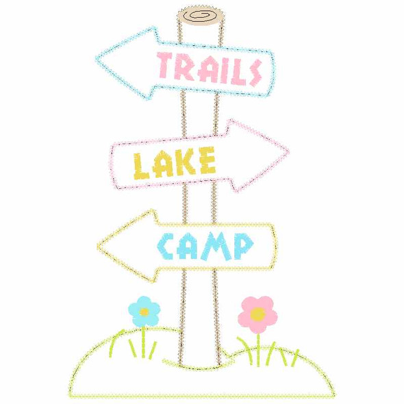 Trail Sign Chain and Vintage Applique