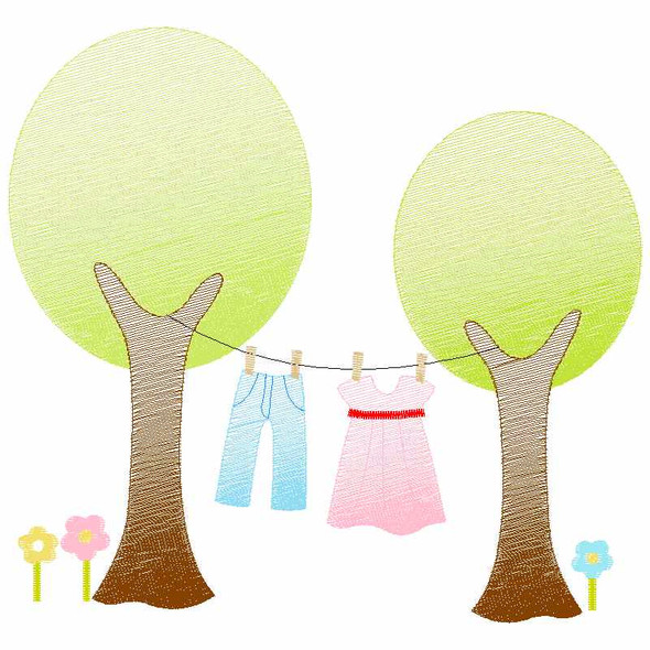 Trees and Laundry Sketch Applique