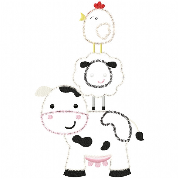Stacked Farm Animals 2 Chain and Vintage Applique