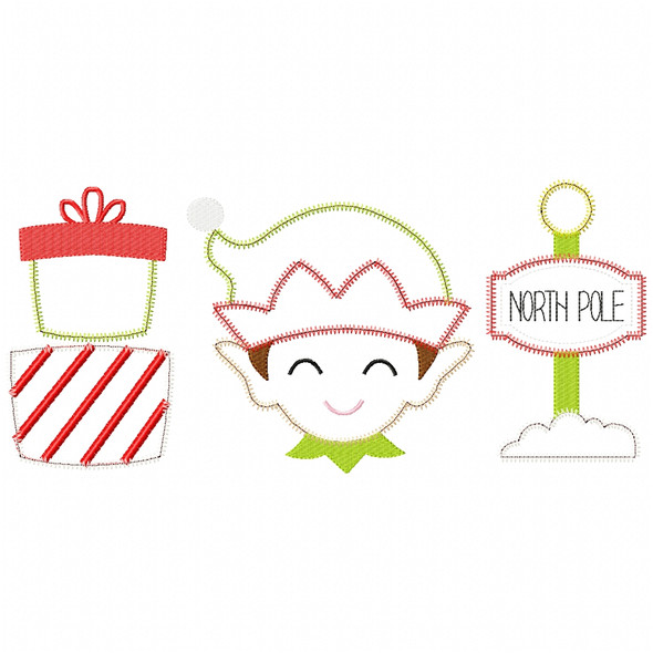 Gifts - Elf- North Pole  Satin and Zigzag Applique