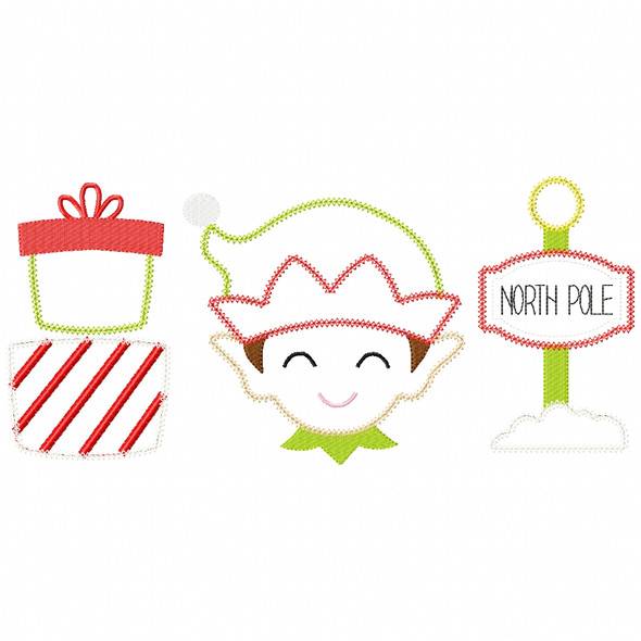Gifts - Elf -North Pole Chain and Vintage Applique