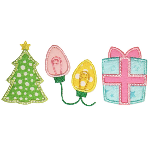 Christmas Tree - String Lights- Gift  Satin and Zigzag Applique