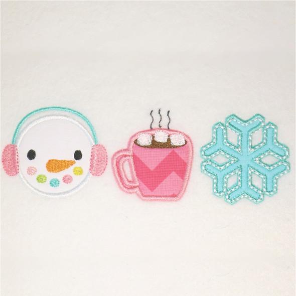 Snowman - Hot Cocoa - Snowflake Satin and Zigzag Applique