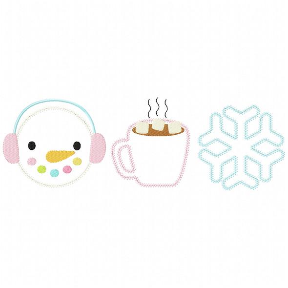 Snowman -Hot Cocoa - Snowflake Chain and Vintage Applique Machine Embroidery Design