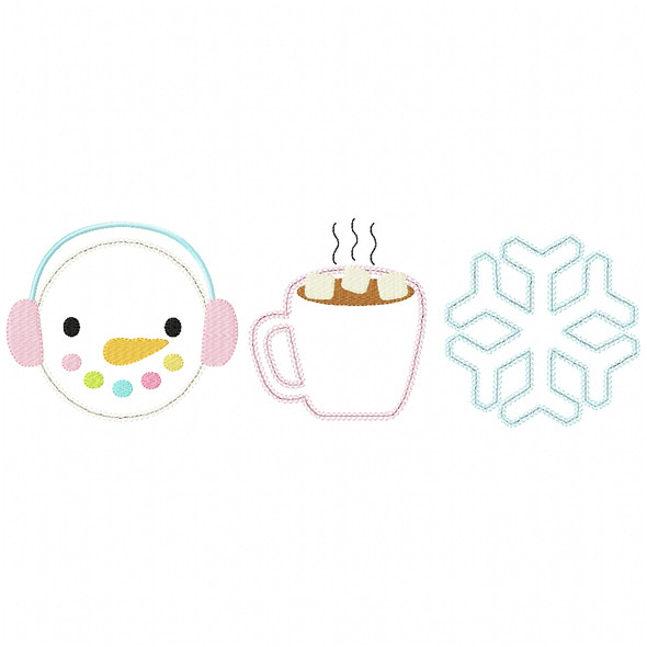 Snowman -Hot Cocoa - Snowflake Chain and Vintage Applique