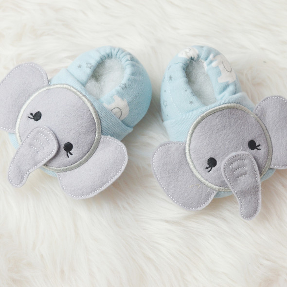 ITH Elephant Baby Shoes Machine Embroidery Design