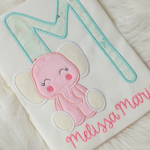 Elephant Alphabet Machine Embroidery Design