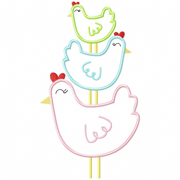 Stacked Chickens Satin and Zig Zag Machine Embroidery Design