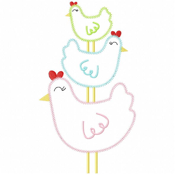 Stacked Chickens Vintage and Chain Stitch Machine Embroidery Design