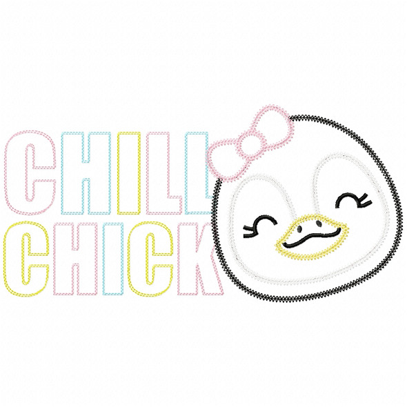 Chill Chick Vintage and Chain Stitch Machine Embroidery Design