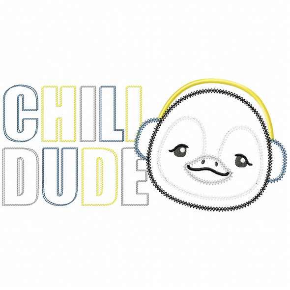 Chill Dude Vintage and Chain Stitch Machine Embroidery Design