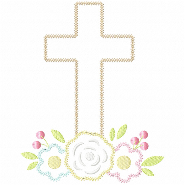 Floral Cross Vintage and Chain Stitch Machine Embroidery Design