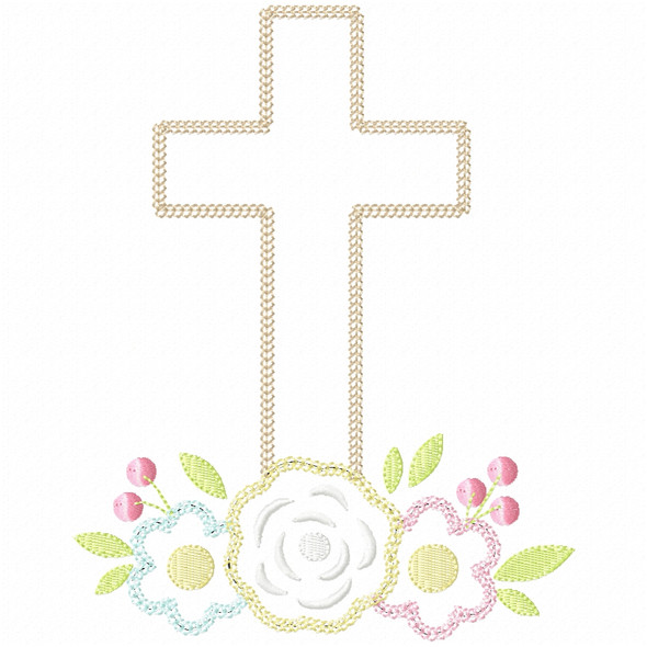 Floral Cross Vintage and Chain Stitch