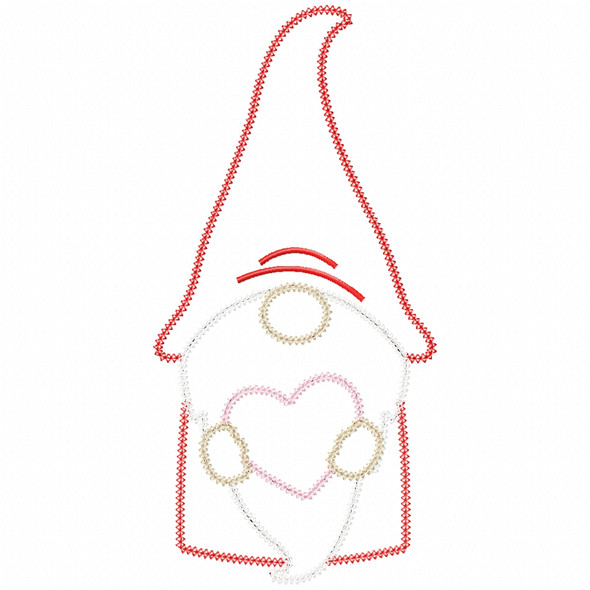 Gnome and Heart Vintage and Chain Stitch Machine Embroidery Design