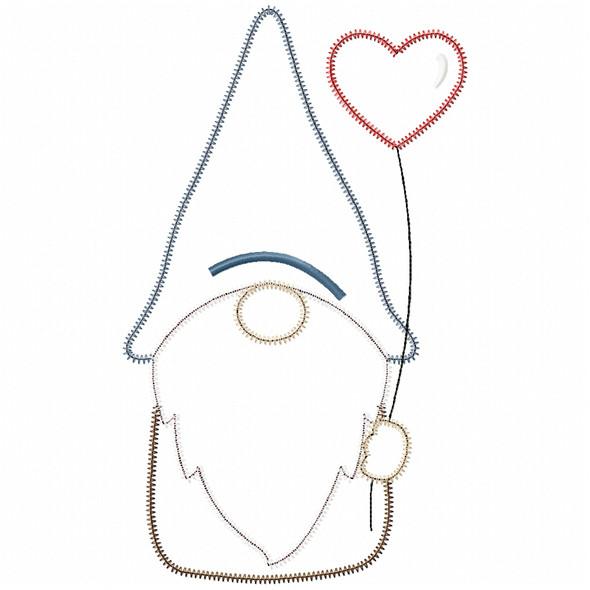 Valentine Gnome Satin and Zig Zag