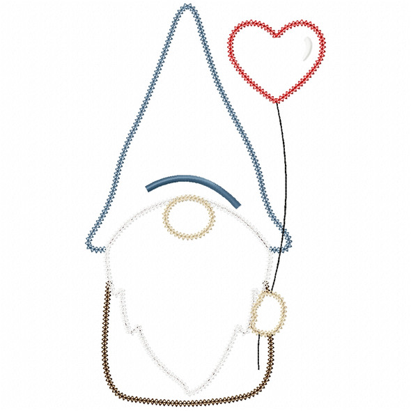 Valentine Gnome Vintage and Chain Stitch Machine Embroidery Design