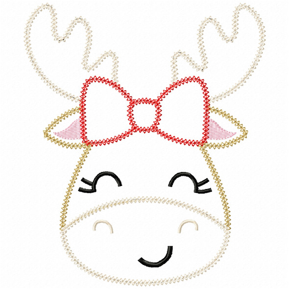 Girly Moose Vintage and Chain Stitch Machine Embroidery Design