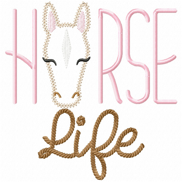 Horse Life Vintage and Chain Stitch Machine Embroidery Design
