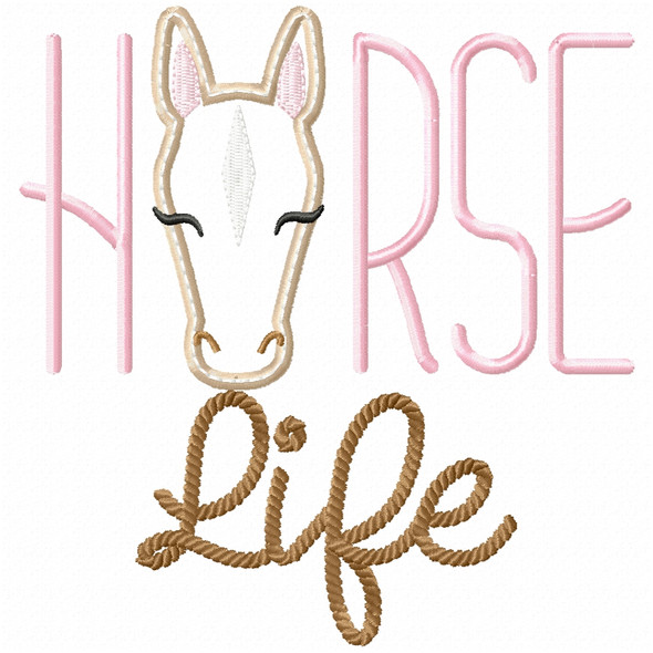 Horse Life Satin and Zig Zag Machine Embroidery Design