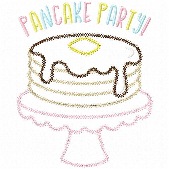 Pancake Party Vintage and Chain Stitch Machine Embroidery Design