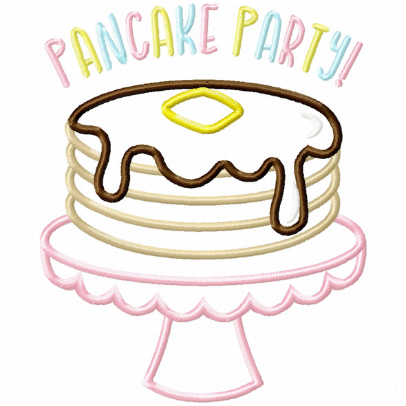Pancake Party Satin and Zig Zag Machine Embroidery Design