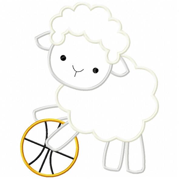 Basketball Lamb Satin and Zig Zag Machine Embroidery Design