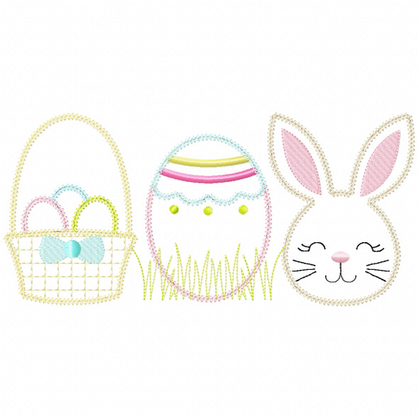 Basket Bunny Egg Vintage and Chain Stitch Machine Embroidery Design