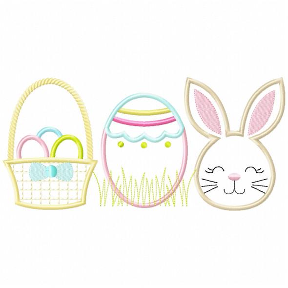 Basket Bunny Egg Satin and Zig Zag Machine Embroidery Design