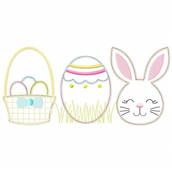 Basket Bunny Egg Satin and Zig Zag