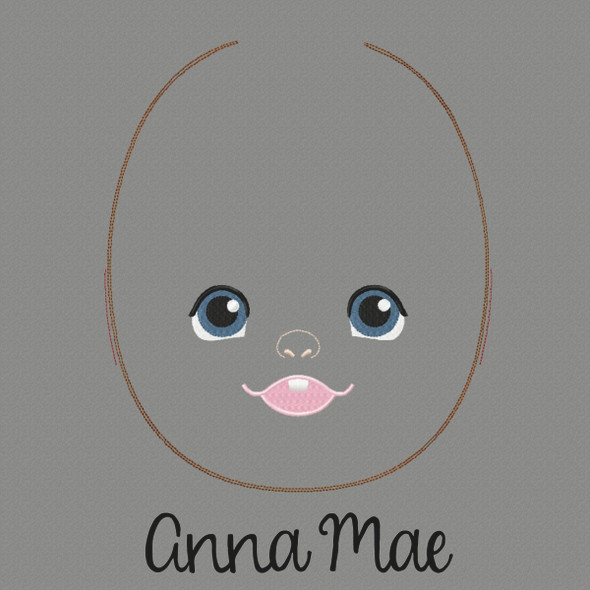 Anna Mae Doll Faces Addon Machine Embroidery Design