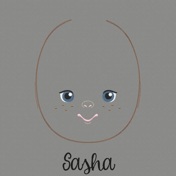 Sasha Doll Faces Addon Machine Embroidery Design