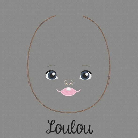 Lou Lou Doll Faces Addon Machine Embroidery Design