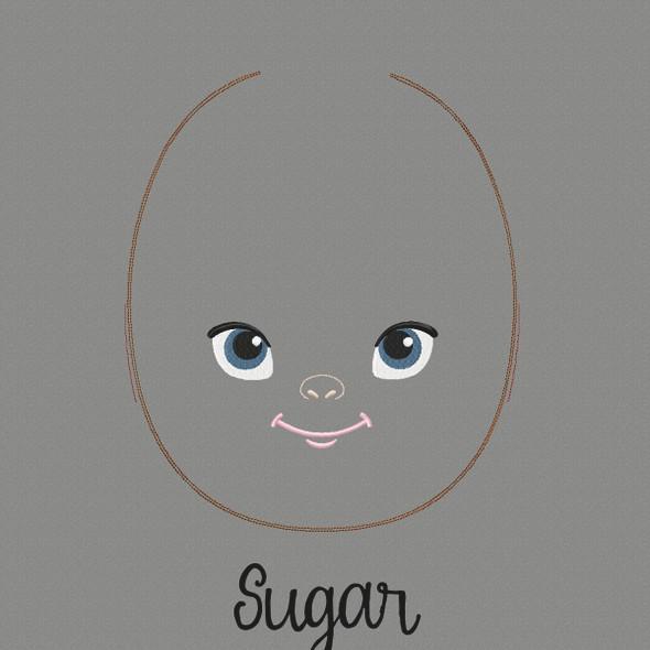Sugar Doll Faces Addon Machine Embroidery Design
