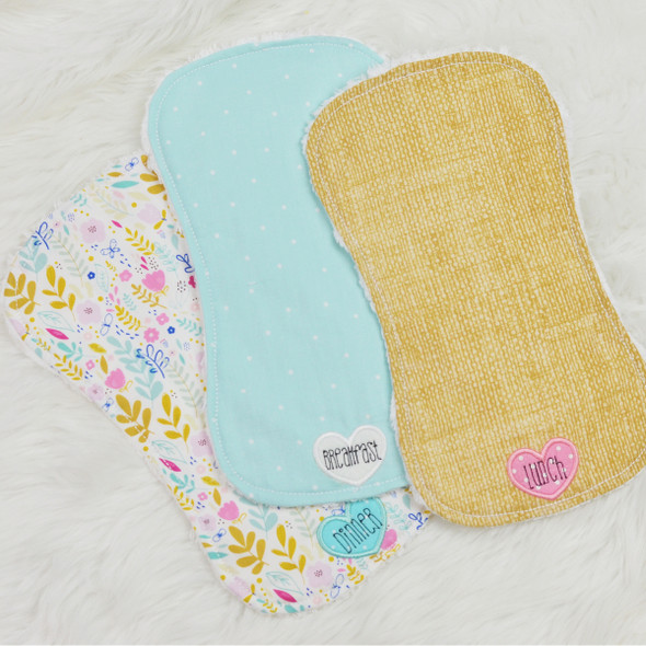 In the Hoop  Burp Cloths For Dolls and Babies Machine Embroidery Design