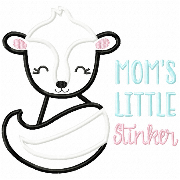 Mommys Little Stinker Satin and Zigzag Applique Machine Embroidery Design