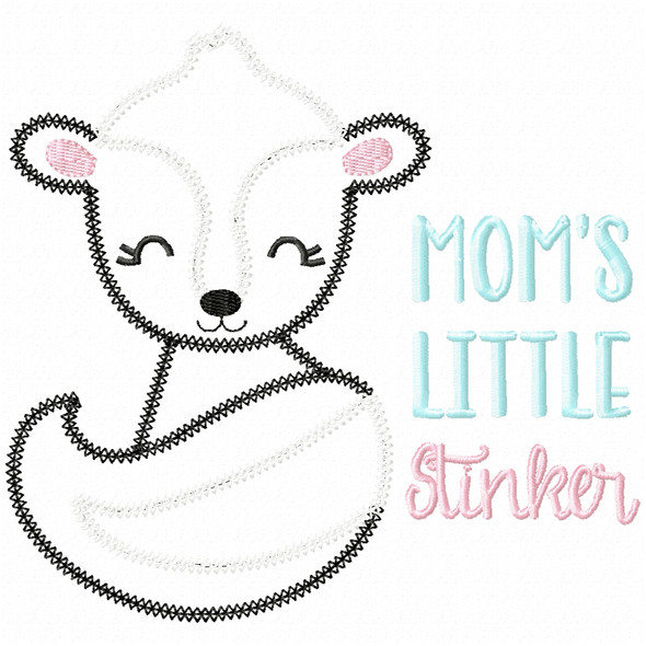Mommys Little Stinker Vintage and Chain Applique Machine Embroidery Design