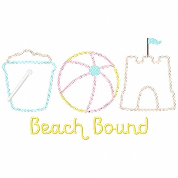 Beach Bound Vintage and Chain Applique Machine Embroidery Design