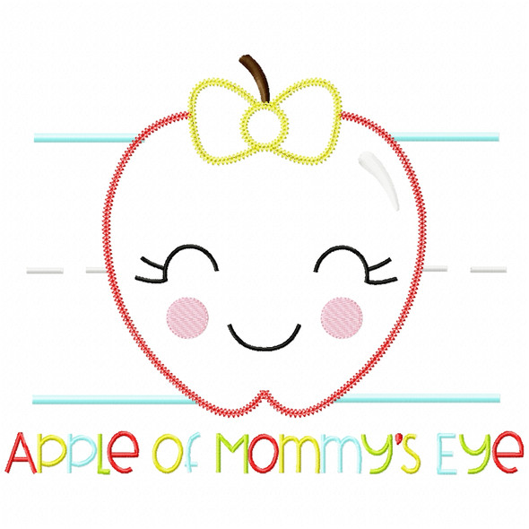 Apple of Mommys Eye Vintage and Chain Applique Machine Embroidery Design