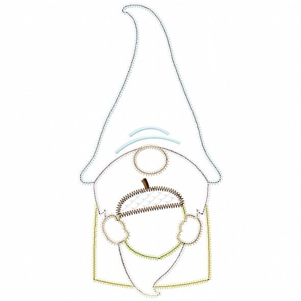 Acorn Gnome Satin and Zigzag Applique