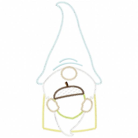 Acorn Gnome Vintage and Chain Applique Machine Embroidery Design