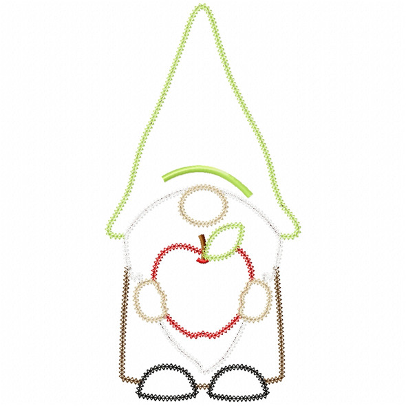 Apple Gnome Vintage and Chain Applique Machine Embroidery Design