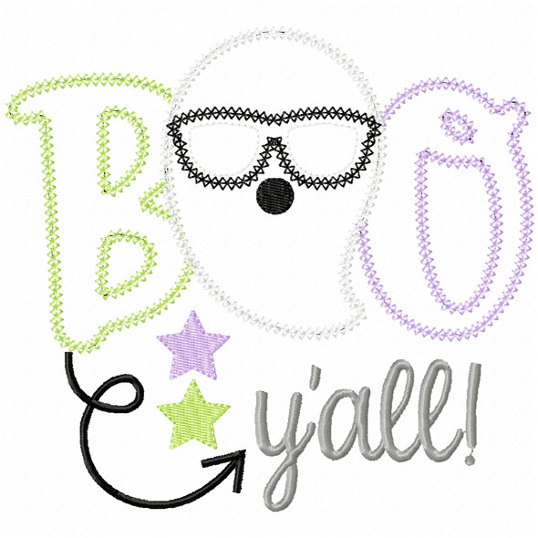 Boo Yall Cool Ghost Vintage and Chain Applique Machine Embroidery Design