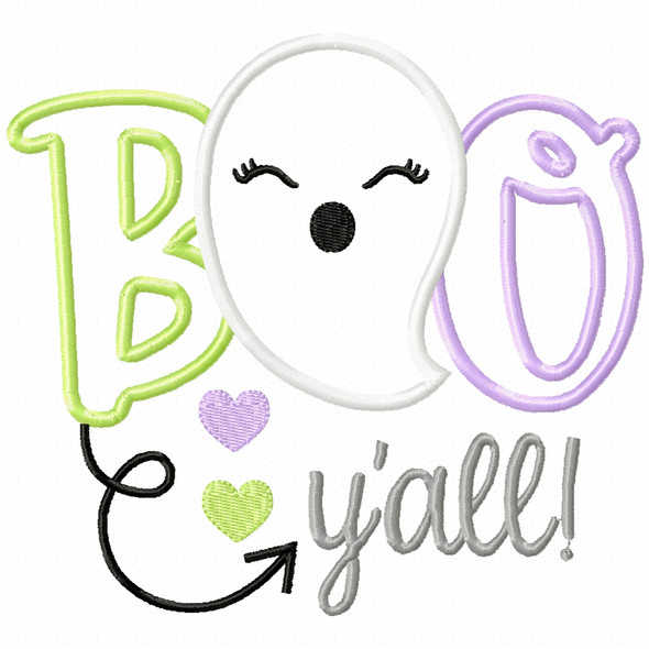 Boo Yall Ghost Satin and Zigzag Applique Machine Embroidery Design